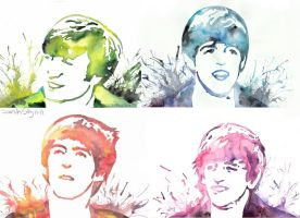 The Beatles by watercolors by Sarah-Sky