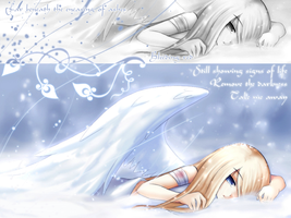 Wallpaper: Fallen Snow Angel by xBloodRedRainx