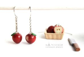 Bitten Smitten Dark Red Apple Earrings Handmade by LaNostalgie05