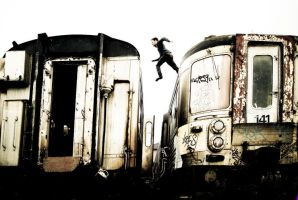 The man of the trains the jump by Giampictures