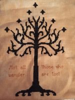 Lord of the Rings Tree of Gondor Cross Stitch by fleaing
