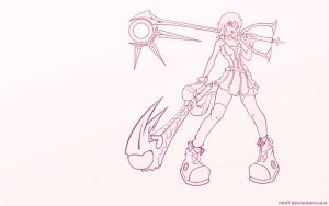 Kairi wallpaper lineart pink by N647