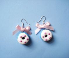 donut earrings with bows by LittleMissDelicious