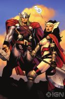 thor and sif by Haseo1970