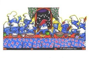 Smurfs' Last Supper by olybear