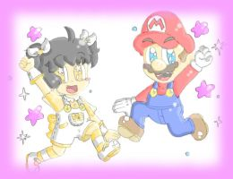 AT with StarGamer01: Reicheru and Mario by CloTheMarioLover