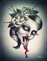 woman's dead head with roses tattoo flash by MWeiss-Art
