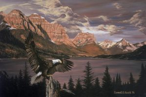 eagle at st. mary's lake by LowellSSmithART