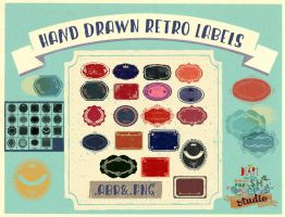 HandDrawn Retro Labels by Diamara
