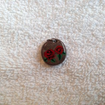 Brown Faux Stone w/ Red Roses by Gold-Heart-Clay