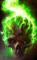 skull - green flames by Andy4U