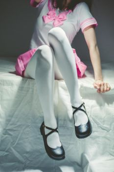 White tights, mary janes, and pink skirt #5 by PascalsProxy