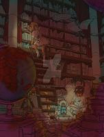 A steampunk library WIP by Sixtine-D