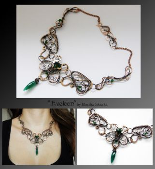 Eveleen- wire wrapped copper necklace by mea00