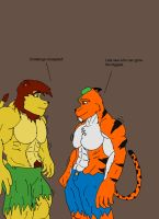 .:Art Trade:. Luke and Zeta Muscle Challenge by HuskyGym
