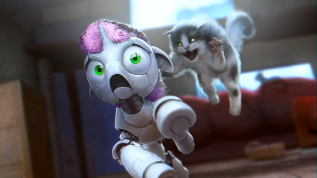 SweetieBot does not like cats by Cannibalus