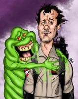 Dr. Venkman and Slimer by hcnoel