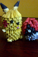3D Origami Pikachu and Pokeball by LuvYen101
