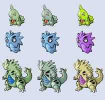 Larvitar-Pupitar-Tyranitar Sprites by absoluteweapon