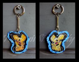 Notched-Pika Pichu Keychain by TranquilSimplicity