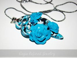 Blue Rose Snake Pendant by Toxic-Muffins-Studio