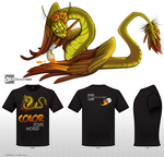 T-shirt design - Quetzalcoatl - Feathered serpent by cursed-sight