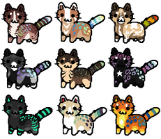 Feline Chibi Batch -Closed- by Errored-Adopts
