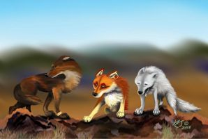 Scylla, Marea and Hati on Mt. by WolfScribe