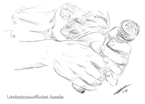 hand study: Misha with microphone by NikkiHomicide