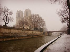 snowy day in Paris by Didier-Bernard
