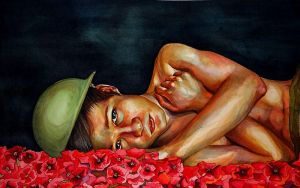 Soldier with Poppies by dirtylittleaphid
