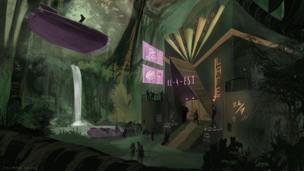 Sci-fi Nightclub in the Jungle by TheLandsquid
