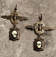 long gothic earrings skull cameos I by Pinkabsinthe