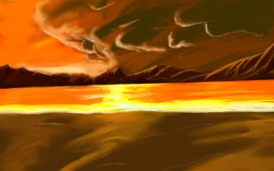 Anime Sunset Beach BG 2 by wbd