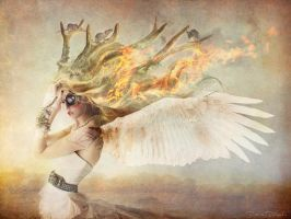 The angel horned with fire and rats in the hair by DesireeDelgado