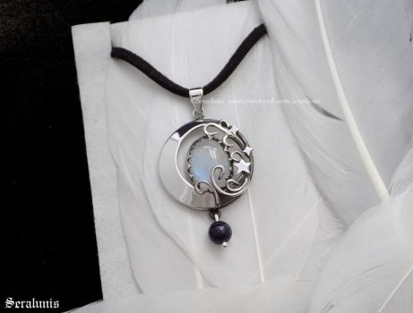 'New Moon', handmade sterling silver pendant by seralune