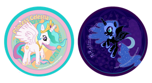 Celestia and Nightmare Moon Buttons by CosmicLabCreations