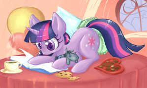 Commission: Twilight Reading by Pearlie-pie