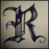 R Freestyle Calligraphy by Chriox