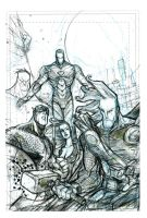 Avengers Sketch BW by JohnTimms
