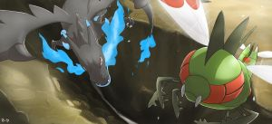 Pokemon Sky Battle: Mega Charizard X vs Yanmega by mark331