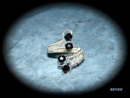 Black beaded wire ring by jasmin7