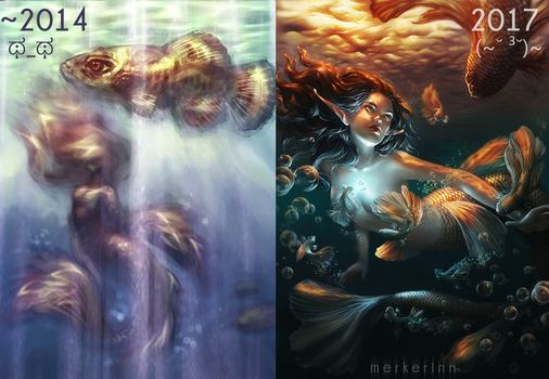Before and After (Mermaid Painting) by merkerinn