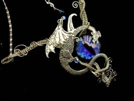 Blue and Violet Dragon Necklace by LadyPirotessa