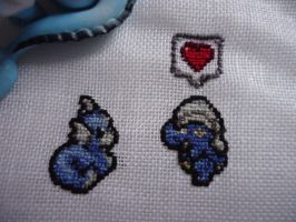 Cross stitch Dratini x Bagon by Miloceane