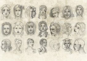 Female faces 02 . by Tpose