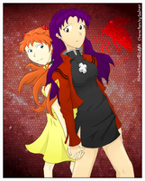 Misato 'n Asuka Commission by Cokomon