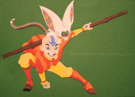 Paper Aang and Momo by zippybluedwarf