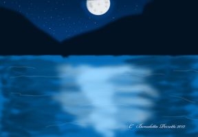 All blue nocturnal landscape by Delew