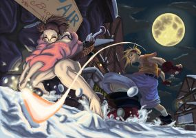 Battle in the Moonlit Snow by Dash-X